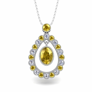 Vintage Inspired Diamond and Yellow Sapphire Necklace in 14k Gold 8x6mm