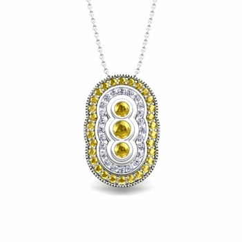 Vintage Inspired Diamond and Yellow Sapphire Necklace in 14k Gold Pendant