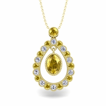 Vintage Inspired Diamond and Yellow Sapphire Necklace in 18k Gold 8x6mm
