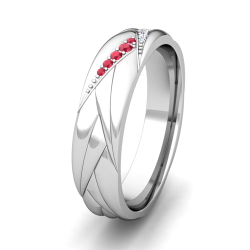 Wave Mens Wedding Band In Platinum Diamond And Ruby Ring