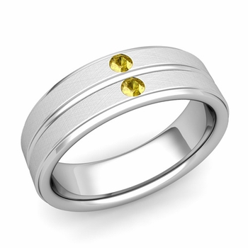 Yellow Sapphire Wedding Ring in 14k Gold Brushed Flat Wedding Band, 6.5mm