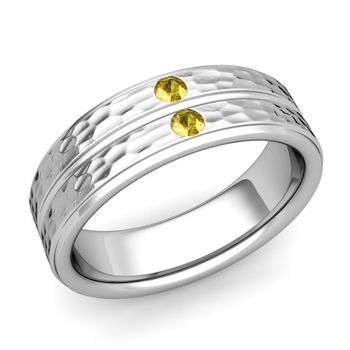 Yellow Sapphire Wedding Ring in 14k Gold Hammered Flat Wedding Band, 6.5mm