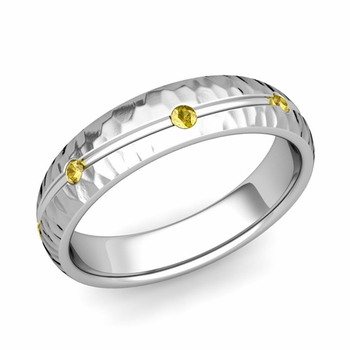 Yellow Sapphire Wedding Ring in 14k Gold Hammered Wave Wedding Band, 5mm
