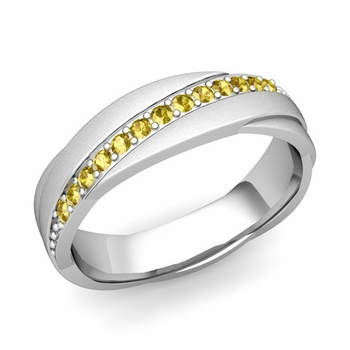 Yellow Sapphire Wedding Ring in 14k Gold Satin Rolling Wedding Band, 6mm