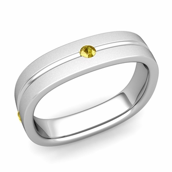 Yellow Sapphire Wedding Ring in 14k Gold Satin Square Wedding Band, 5mm