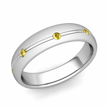 Yellow Sapphire Wedding Ring in 14k Gold Satin Wave Wedding Band, 5mm