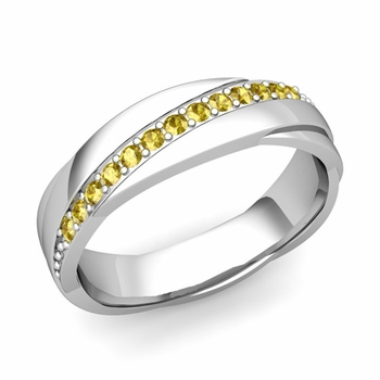 Yellow Sapphire Wedding Ring in 14k Gold Shiny Rolling Wedding Band, 6mm