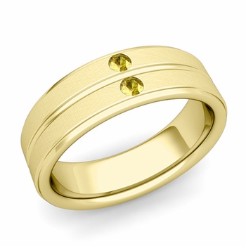 Yellow Sapphire Wedding Ring in 18k Gold Brushed Flat Wedding Band, 6.5mm