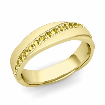 Yellow Sapphire Wedding Ring in 18k Gold Brushed Rolling Wedding Band, 6mm