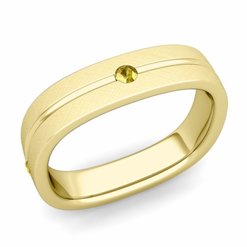 Yellow Sapphire Wedding Ring in 18k Gold Brushed Square Wedding Band, 5mm