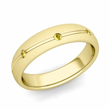 Yellow Sapphire Wedding Ring in 18k Gold Brushed Wave Wedding Band, 5mm