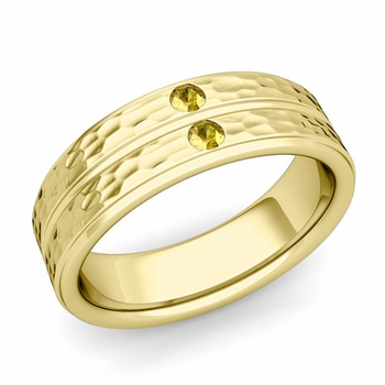 Yellow Sapphire Wedding Ring in 18k Gold Hammered Flat Wedding Band, 6.5mm