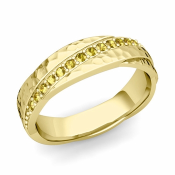 Yellow Sapphire Wedding Ring in 18k Gold Hammered Rolling Wedding Band, 6mm