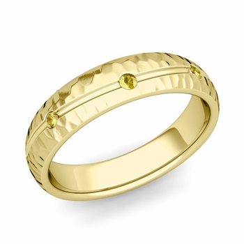 Yellow Sapphire Wedding Ring in 18k Gold Hammered Wave Wedding Band, 5mm