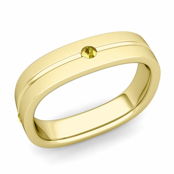 Yellow Sapphire Wedding Ring in 18k Gold Satin Square Wedding Band, 5mm