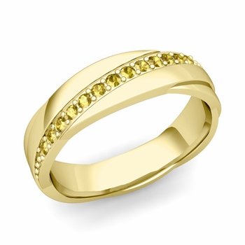 Yellow Sapphire Wedding Ring in 18k Gold Shiny Rolling Wedding Band, 6mm