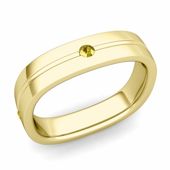 Yellow Sapphire Wedding Ring in 18k Gold Shiny Square Wedding Band, 5mm