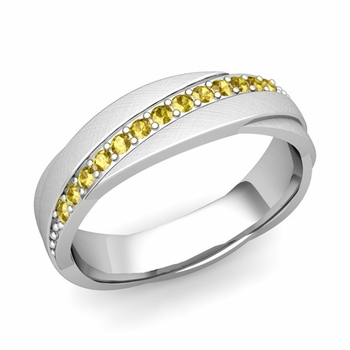 Yellow Sapphire Wedding Ring in Platinum Brushed Rolling Wedding Band, 6mm