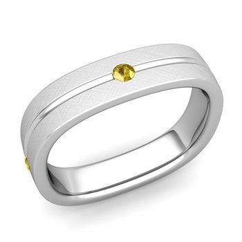 Yellow Sapphire Wedding Ring in Platinum Brushed Square Wedding Band, 5mm