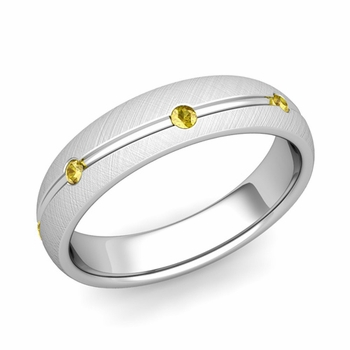 Yellow Sapphire Wedding Ring in Platinum Brushed Wave Wedding Band, 5mm