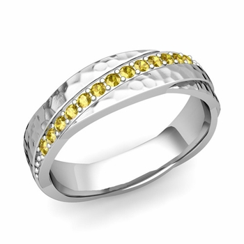 Yellow Sapphire Wedding Ring in Platinum Hammered Rolling Wedding Band, 6mm