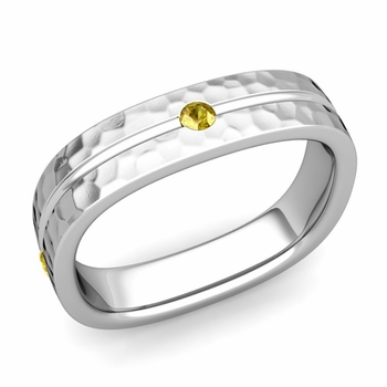 Yellow Sapphire Wedding Ring in Platinum Hammered Square Wedding Band, 5mm