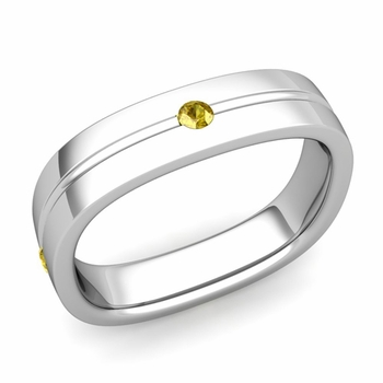 Yellow Sapphire Wedding Ring in Platinum Shiny Square Wedding Band, 5mm
