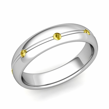 Yellow Sapphire Wedding Ring in Platinum Shiny Wave Wedding Band, 5mm