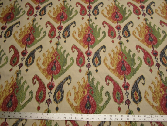 1 1/4 yards of colorful ikat patterned jacquard upholstery fabric