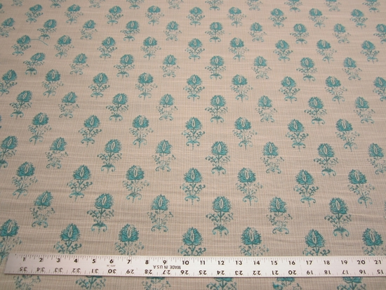 1 1/4 yards of Robert Allen Cloe Flora Turquoise upholstery fabric
