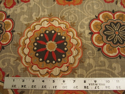 1 1/8 yard of Chanterelle medallion patterned tapestry upholstery fabric