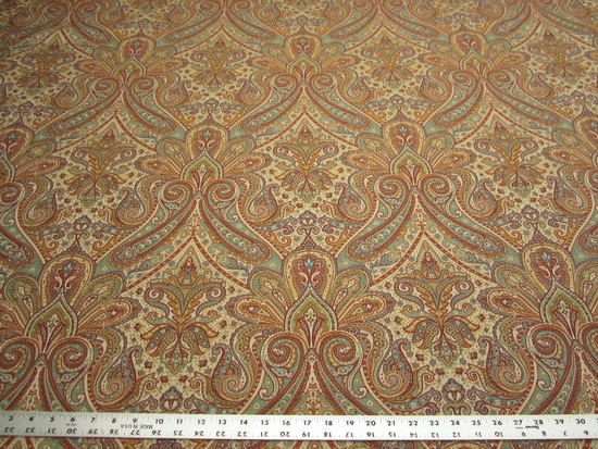 1 3/4 yards of Fabricut Perugia color confetti paisley upholstery fabric