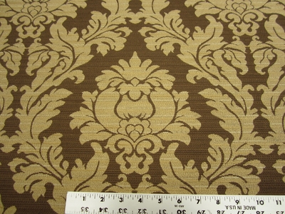 1 7/8 yards of Bella sable brown damask upholstery fabric