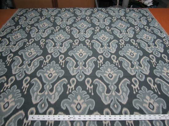 1 7/8 yards of blue ikat upholstery fabric
