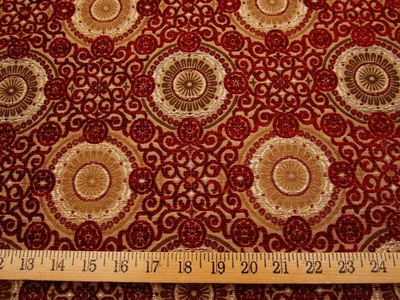 1 7/8 yards Raphael's Medallion Scarlet Upholstery Fabric by Stroheim & Romann