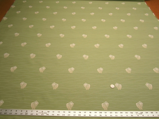 10 1/2 yards of conch shell patterned upholstery fabric