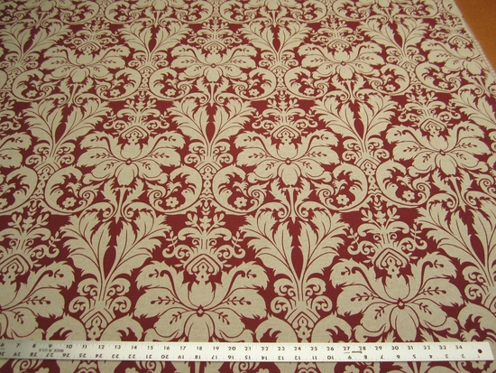 10 7/8 yards Lacefield Designs Charlotte Sangria Damask Upholstery Fabric