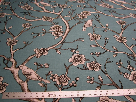 11 3/4 yards Vintage Blossom drapery fabric color jade by Robert Allen