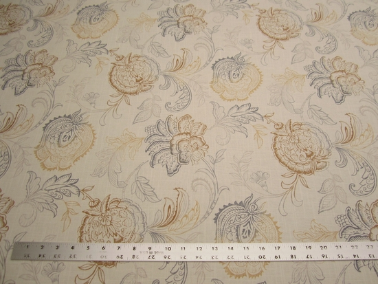 12 yards of Calypso jacobean print fabric color pebblestone by Belle Maison