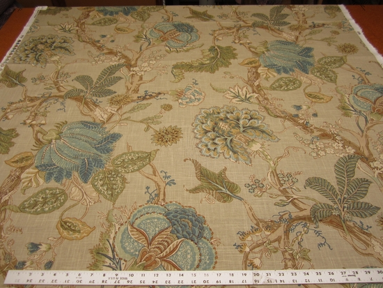 2 1/2 yards Fabricut Zoysia Green Tea upholstery and drapery fabric