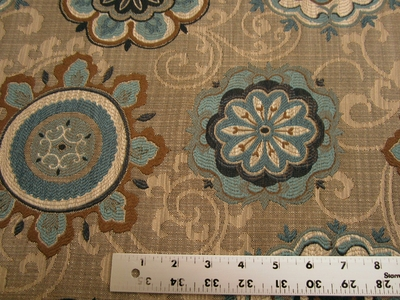 2 1/2 yards of Fabricut Chanterelle medallion tapestry upholstery fabric