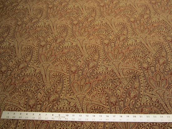 2 1/2 yards of rust paisley upholstery fabric