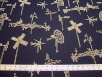 2 1/2 yards of Sunbrella Whirligig Navy indoor outdoor upholstery fabric
