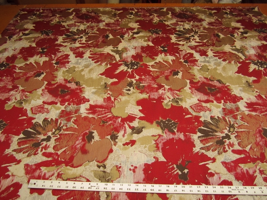 2 1/2 yards Robert Allen Tudor Grove Red Hot Floral Upholstery Fabric