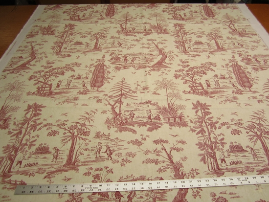 2 1/4 yards Portfolio Winthur Museum Collection Toile Print Drapery Fabric