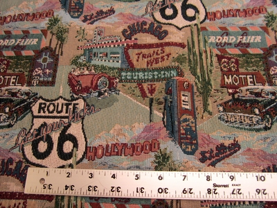 2 1/4 yards Trails West Route 66 tapestry upholstery fabric