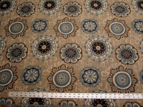 2 3/4 yards of Fabricut Chanterelle medallion tapestry upholstery fabric