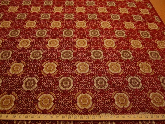 2 3/4 yards Raphael's Medallion Scarlet Upholstery Fabric by Stroheim & Romann