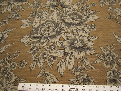 2 3/8 yards floral toile upholstery fabric