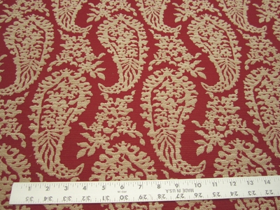 2 5/8 yards of Chinese red paisley upholstery fabric